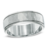 Men's 8.0mm Hammered Comfort Fit Wedding Band in Titanium (52 Characters)