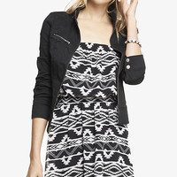 SEAMED TWILL CUFFED SLEEVE MOTO JACKET from EXPRESS