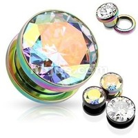 2g Ear Gauges - 1 Pair of Cz Rimmed Anodized Titanium-plated Rainbow Screw Fit Size 0g. Cz Plugs