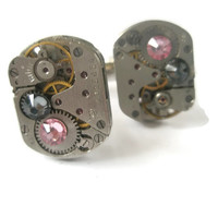 Wedding Watch Movement Cufflinks Steam punk up-cycled Mechanical industrial groom best man Light Rose Pink and Smoke Grey swarovski