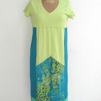 T Shirt Dress for Her / Turquoise / Chartreuse / Green / Yellow / M - L / Cotton / Soft / Maternity / Pregnancy / Handmade / For Her / ohzie