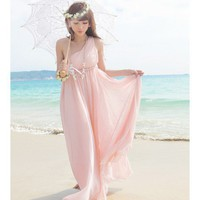Women One Shoulder Chiffon Pink Pleating Long Dress S/M@MF5161