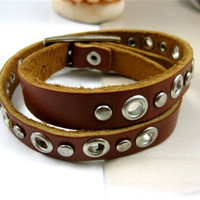 Punk Rock Style Couple Bracelet Women Brown Leather Bangle Men Leather Bracelet SL0103-BR