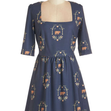 ModCloth Critters Mid-length 3 A-line Cottage Bound Dress