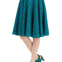 ModCloth 50s High Waist Ikebana for All Skirt in Teal Dots
