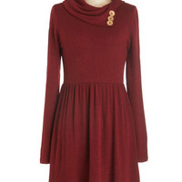 ModCloth Mid-length Long Sleeve A-line Curator de Force Dress in Ruby