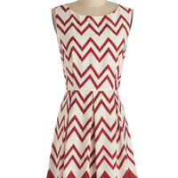 ModCloth Mid-length Sleeveless A-line Interviews at the Party Dress in Red