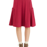 ModCloth Mid-length A-line At the Racquet of Dawn Skirt in Berry