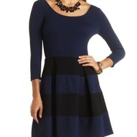 Striped & Pleated Skater Dress by Charlotte Russe - Navy Combo