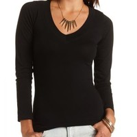 V-Neck Long Sleeve Tee by Charlotte Russe