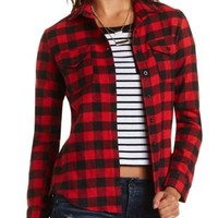 Buffalo Plaid Flannel Shirt by Charlotte Russe - Burgundy Cmb
