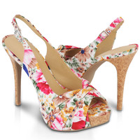 Floral Platform Slingbacks