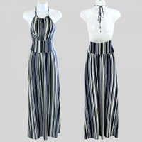 Max and Cleo Long Mutli Stripe Backless Halter Dress Women's Size Small (S) Boho Stretch
