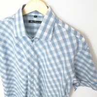 Ben Sherman Mod Diagonal Plaid Blue Short Sleeve Dress Shirt Men's Size XL