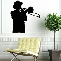 Wall Decor Vinyl Decal Stickes Boy with a Trombone Musical Instruments Kj242