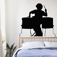 Wall Decor Vinyl Decal Sticker Boy Room Disco Club Man Bright Drummer Musical Decals Kj244