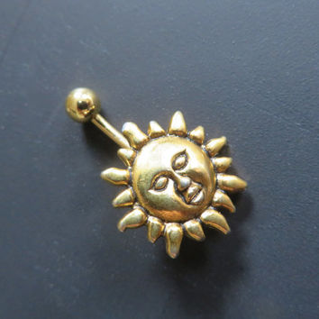 Celestial Golden Sun Belly Button Ring Jewelry Gold Stud Navel Piercing Bar Barbell
