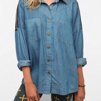 Reverse Mesh Back Chambray Shirt