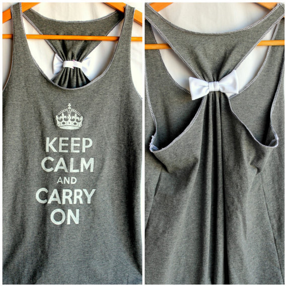 Keep Calm and Carry On Bow Tank - Small