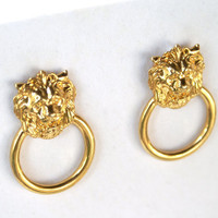 Vintage Lion Door Knocker Style Earrings