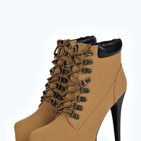 Zoe Lace Up Concealed Platform Heeled Boot