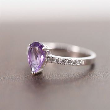 Magic Pieces Sterling Silver Ring with Pear Shape Natural Brazilian Purple Amethyst and CZ