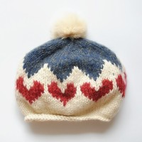 FunShop Women's Heart Pattern Knitted Hat with Pom Pom Beanies