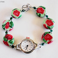 Rose Watch, Ladies Watch, Pink Rose  Beads, Handmade, Stainless Steel, Beaded Band, Polymer Beads, Fashion Watch, Artisan Jewelry