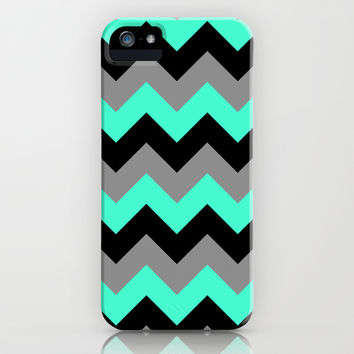 Chevron Silver Blue iPhone & iPod Case by Alice Gosling