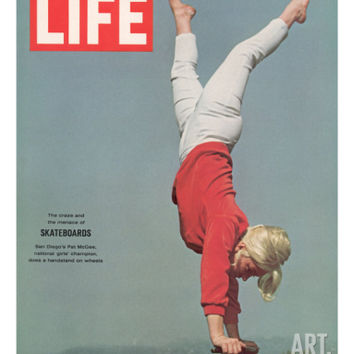 Girl Doing Handstand on Skateboard, May 14, 1965 Photographic Print by Bill Eppridge at Art.com