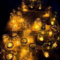 Wedding Details: A Sea of Mason Jar Candles | Inspirations &amp; Creations - Elizabeth Anne Designs: The Wedding Blog