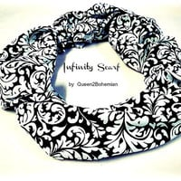 Black and White Infinity Scarf, Fashion Scarf, Women s Scarves, Eternity Loop and Circle Scarf, Fall Fashion , Winter Scarf, Ready to Ship,