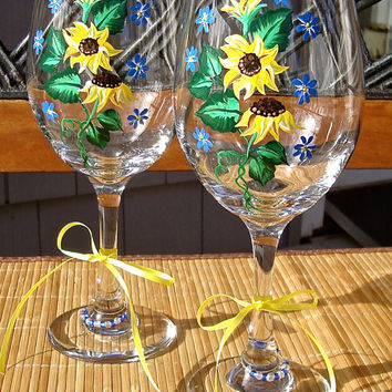 Hand Painted Wine Glasses With bright Yellow Sunflowers