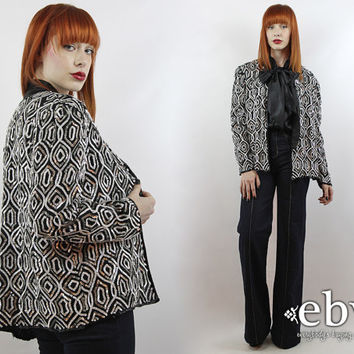 Vintage Black + White Sequin Cardigan L XL Sequin Top Party Top Silk Cardigan Silver Sequin Cardigan Black Sequin Top