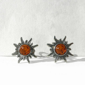 Chic Baltic Amber Stud Earring, Oxidized Sterling Silver Earrings, Sun Amber Earrings Sun Studs, Original Amber Jewelry from Germany, Artida