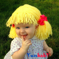 Baby Hat, Baby Girl Beanie Wig, Pigtails Baby Hair, Girls Halloween Costume, Baby Hat, Girl Wig, Baby Girl Costume, Yellow Wig, Baby Bows