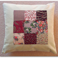 Cushion cover with vintage style patchwork and button detail 14inch 35cm zip fastening