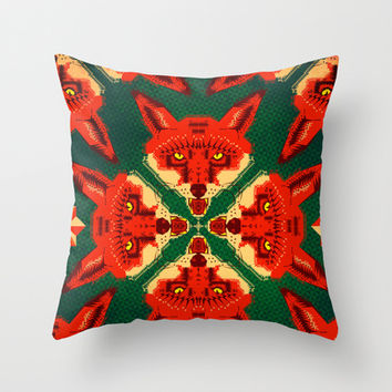 Fox Cross geometric pattern Throw Pillow by Chobopop