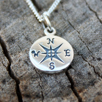 Compass Necklace - Sterling Silver Compass Pendant . Satellite Chain . Maps  . Hand-Stamped Gift Box