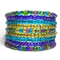 Memory Wire Bracelet Peacock Purple and Blue Beaded Wrap Bracelet