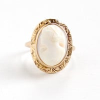 Vintage 10k Yellow Gold Cameo Ring - Size 4 1920s 1930s Art Deco Era Carved Female Silhouette Shell Fine Jewelry