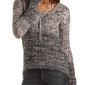 Marled Ombre Sweater by Charlotte Russe - Black Combo