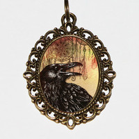 Raven Necklace, Bird Jewelry, Black Bird, Raven Jewelry, Crow Necklace, Gothic Jewelry, Oval Pendant
