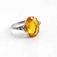 Vintage Art Deco Filigree Simulated Citrine Ring - Antique 1920s Size 7 1/4 Yellow Glass Stone Rhodium Plated Flower Band Costume Jewelry