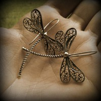 Silver filigree dragonfly earrings
