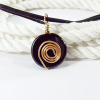 Black Agate Round Pendant with Copper Spiral on Black Cord