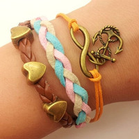infinity  karma bracelet  bronze anchor bracelet with love heart pendant  bead women leather bracelet  1278A