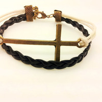 big crossing pendant bracelet with black leather women jewelry bangle leather bracelet  1279A