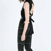 Zipped check jogging pants