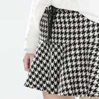 Flared houndstooth skirt